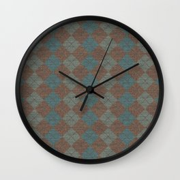 Dark Blue Brown Checkered Knitted Weaving Wall Clock