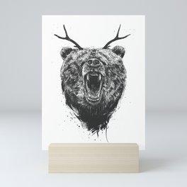 Angry bear with antlers Mini Art Print