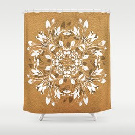 ELEGANT GOLD AND WHITE FLORAL MANDALA Shower Curtain