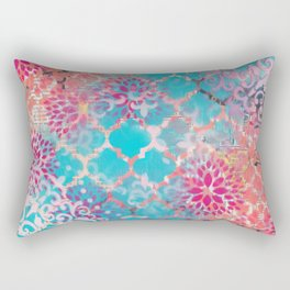 Mixed Media Layered Patterns - Turquoise, Pink & Coral Rectangular Pillow