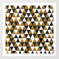 black and gold Art Prints featuring Black/Gold by T.Fischer