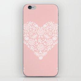 Millennial Pink Blush Rose Quartz Hearts Lace Flowers Pattern iPhone Skin