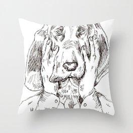 Sad Bloodhound Throw Pillow