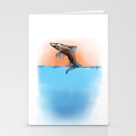 Breaching Whale Stationery Cards