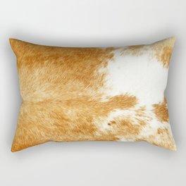 Golden Brown Cow Hide Rectangular Pillow
