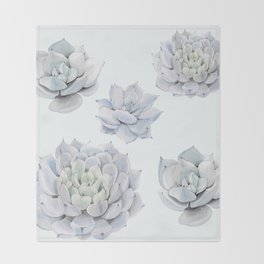 Blue Succulents Throw Blanket