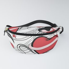 Cherry, Hearts, bird and stars on Rockabilly Tattoos Collection - White, red and black Fanny Pack