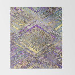 Tribal  Ethnic Boho Pattern gold and gentle purples Throw Blanket