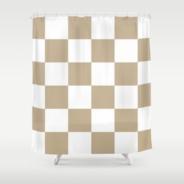 Large Checkered - White and Khaki Brown Shower Curtain