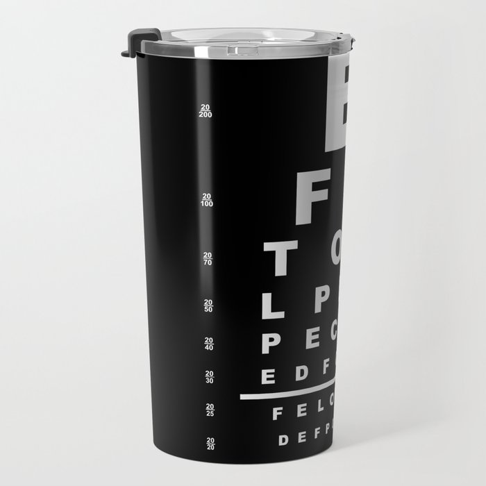 Inverted Eye Test Chart Travel Mug