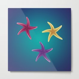 Colorful Starfishes Metal Print