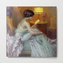 The Letter (Fool in Love) romantic portrait painting by Delphin Enjolras - Bedroom Wall Decor Metal Print