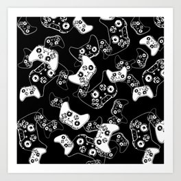 Video Game White on Black Art Print