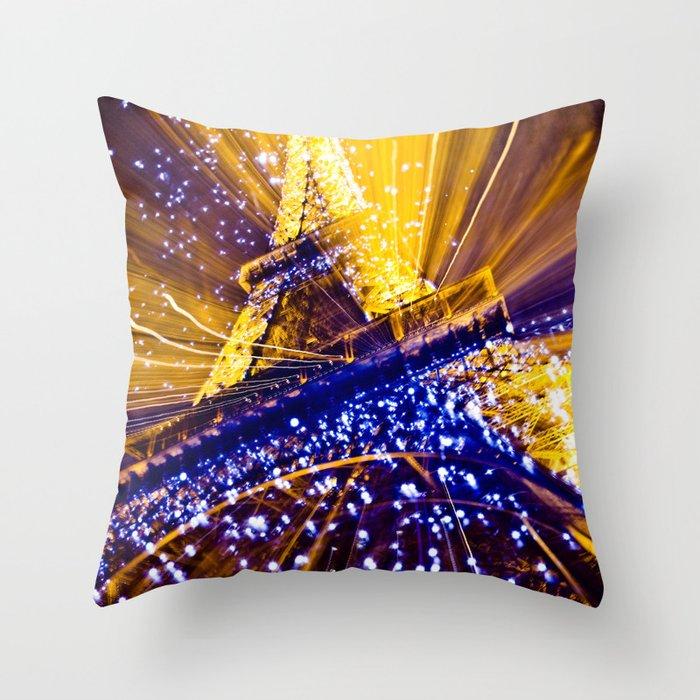 Supernova Eiffel Throw Pillow