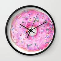 donut Wall Clocks featuring DONUT!!!! by annelise johnson