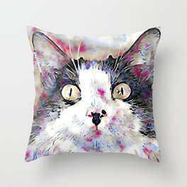 watercolor kitty Throw Pillow