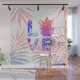 Love Pineapple Typography Tropical Boho Summer Vibes Wall Mural