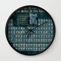 periodic table Wall Clocks featuring periodic table of elements by Bekim ART