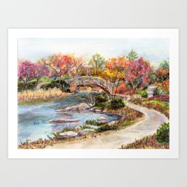 Autumn in Central Park, Manhattan, New York City. A watercolor painting. Art Print