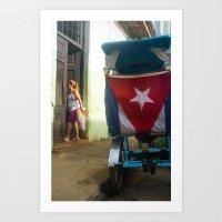 Woman and Rickshaw, Havana Art Print