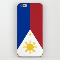 philippines iPhone & iPod Skins featuring Philippines Flag (Vintage / Distressed) by Patterns