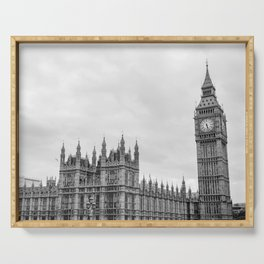Westminster and Big Ben, London - Black and White Serving Tray