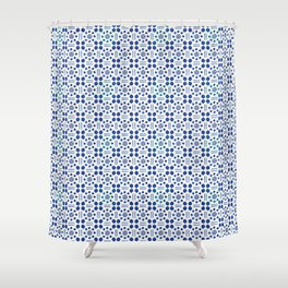 indigo clover tiles Shower Curtain