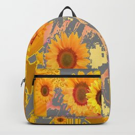 MODERN ART YELLOW SUNFLOWERS  GREY ABSTRACT Backpack