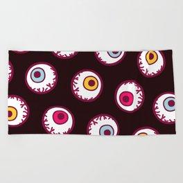 Eyeball Pattern in Black Beach Towel