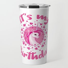 Unicorn Birthday Gift Pink Hearts Cute Unicorns Travel Mug