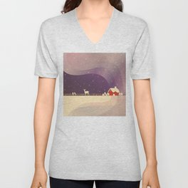 Peaceful Snowy Christmas (Plum Purple) Unisex V-Neck