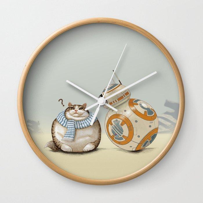 Cat And Droid Wall Clock By Tummaw Society6