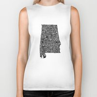 alabama Biker Tanks featuring Typographic Alabama by CAPow!