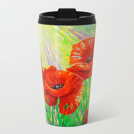 Poppies in sunlight Metal Travel Mug