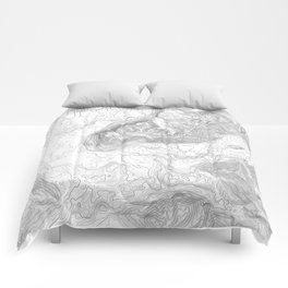 NORTH BEND WA TOPO MAP - LIGHT Comforters