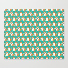 Cute corgi illustration on turquoise background pattern Canvas Print