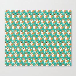 Cute corgi illustration on turquoise background pattern Canvas Print