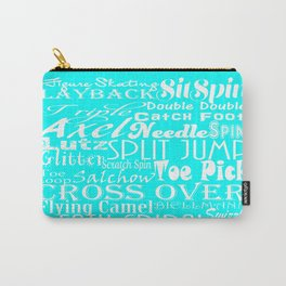 Turquoise Figure Skating Subway Style Typographic Design Carry-All Pouch