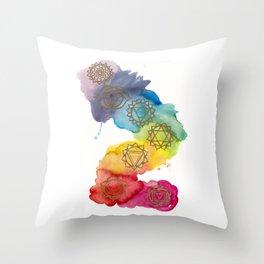 7 Chakras Watercolour Painting Throw Pillow