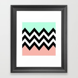 DOUBLE COLORBLOCK CHEVRON {MINT/CORAL/BLACK} Framed Art Print