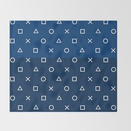 Gamepad Symbols Pattern - Navy Blue Throw Blanket