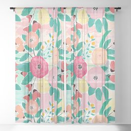 Modern brush paint abstract floral paint Sheer Curtain