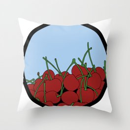 Cherries in a Bowl (Black Ring) Throw Pillow