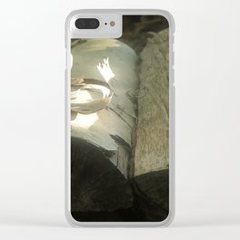 Wood logs, soft light Clear iPhone Case