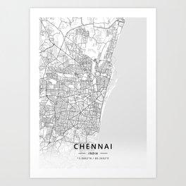 Chennai, India - Light Map Art Print
