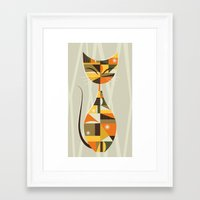 mid century Framed Art Prints featuring Mid Century Cat by MidPark Prints