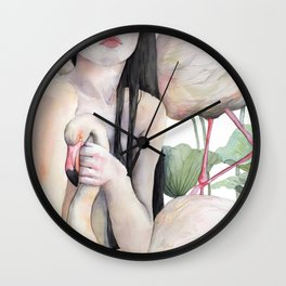 Rosy, the girl with the flamingo soul Wall Clock