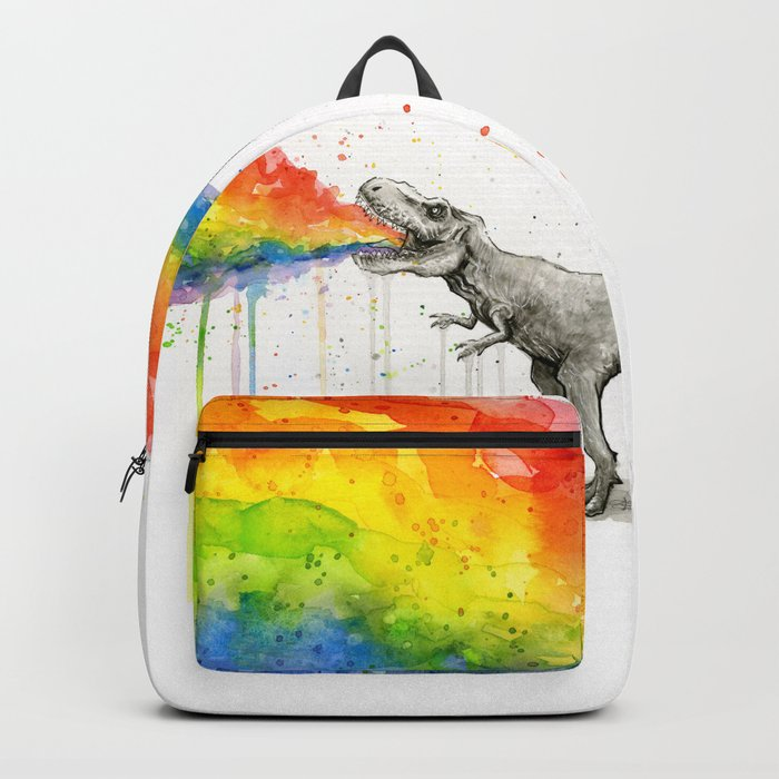 T-Rex Dinosaur Rainbow Puke Taste the Rainbow Watercolor Backpack
