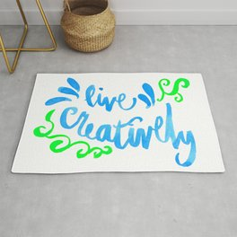 Live Creatively - Blue and Green Palette Rug