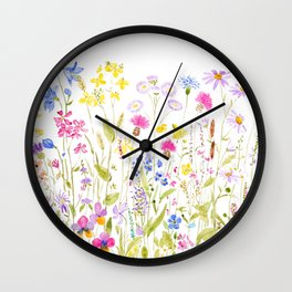 botanical colorful wildflower garden watercolor painting horizontal Wall Clock